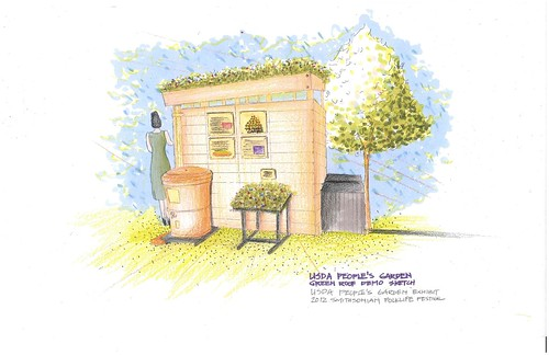 Here is the concept drawing for the People's Garden exhibit at the  2012 Smithsonian Folklife Festival including the green roof and rain barrel. Drawing by Dixi Wang, USDA landscape architect intern.