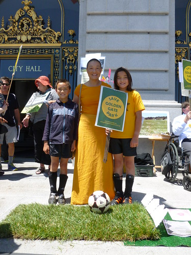 Barbara Liu McDowell and her natural grass loving, soccer playing children -photo Jean Barish