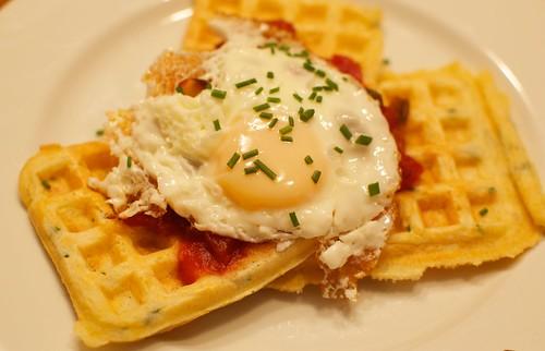 Cornmeal Chive Waffles