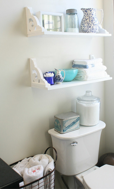 scroll bracket bathroom shelf