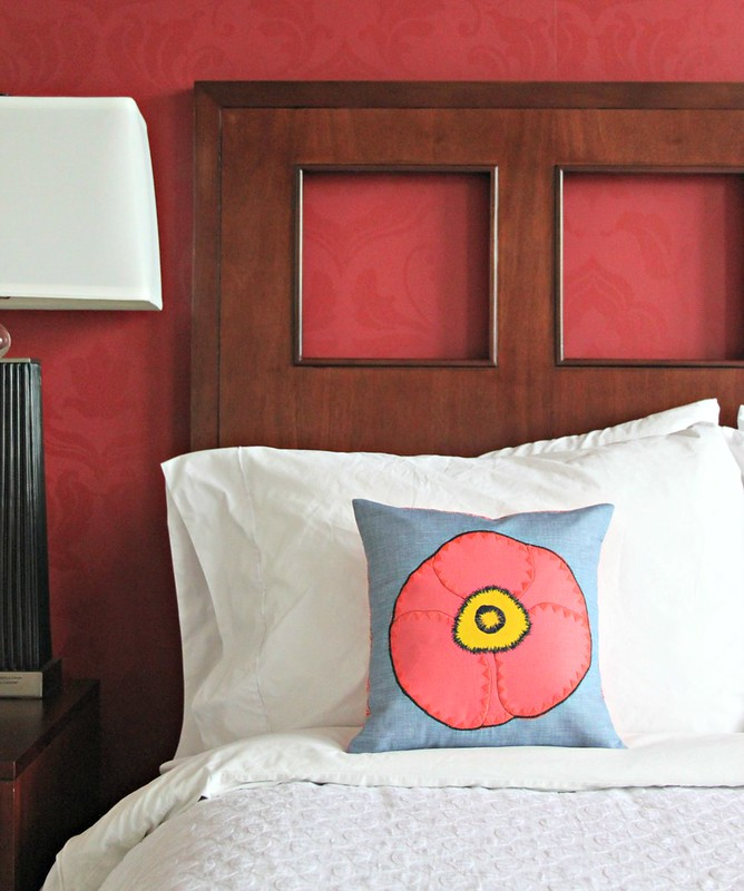 Poppy Applique Pillow