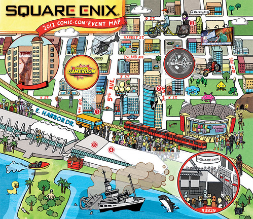 Square Enix Comic-Con event map illustration