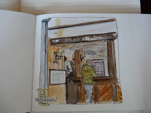 WC Sketch of The Fox and Hounds Pub in Lyndhurst