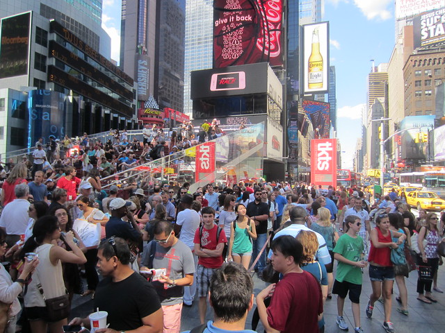 TKTS discount theater ticket line in Times Square New York City