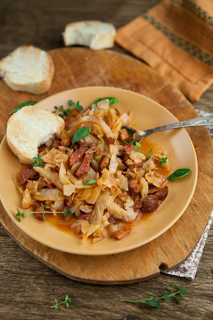 [195/366] Braised Cabbage With Salami