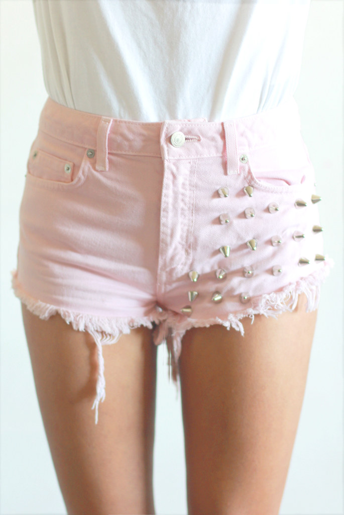 Vintage pastel creme pink spike studded cut off denim shorts by Tarte Vintage at shoptarte.com
