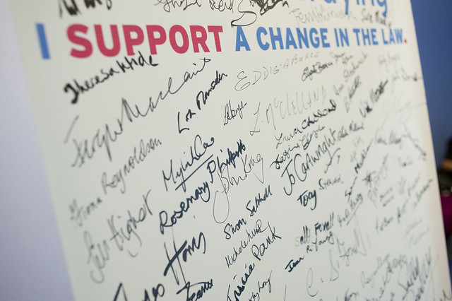 Supporters' signatures supporting a change in the law
