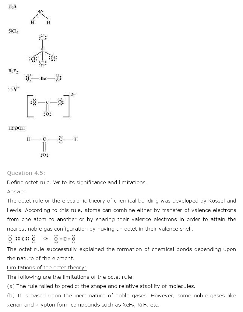 NCERT Solutions for Class 11th Chemistry Chapter 4 - Chemical Bonding and Molecular Structure
