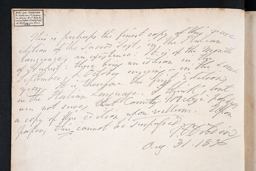 Bookbinder's ticket in Biblia [Italian]