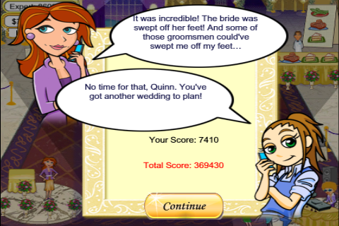 screen shot of wedding planner game