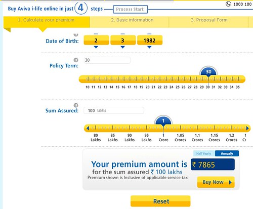 Image of Aviva i-Life premium calculations for our 30-30-1 female-life benchmark