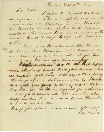 Letter from John to his sister Sarah, 18 Sept. 1833, discussing school at Gambier
