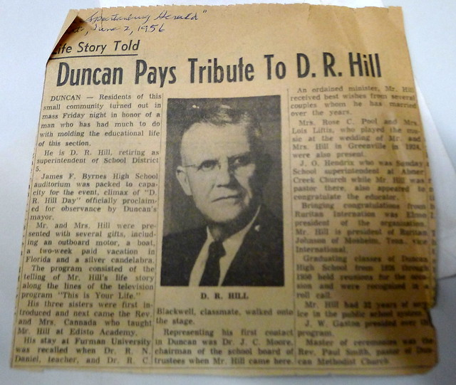 D. R. Hill News Clipping