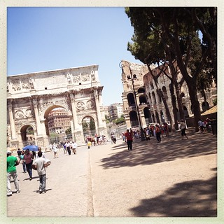 The Arch of Constantine and the Coliseum.