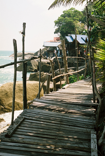 boardwalk to ocean rock