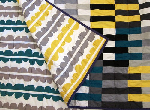 bauhaus quilt #3 showing backing fabrics