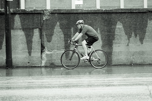 rainy day cyclist