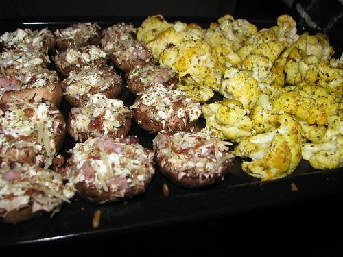 Stuffed Mushrooms and Roasted Cauliflower on the Grill!