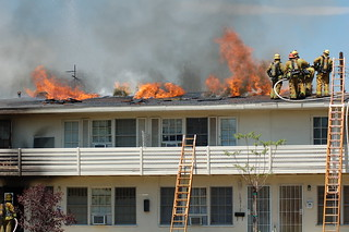 LAFD Tackles North Hollywood Apartment Fire in Peak Summer Heat. © Photo by Chester Brown. Click to view more...