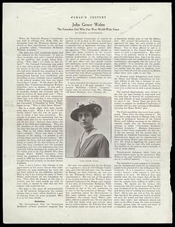 Julia Grace Wales: The Canadian Girl Who Has Won World-Wide Fame / Article sur Julia Grace Wales, « The Canadian Girl Who Has Won World-Wide Fame »
