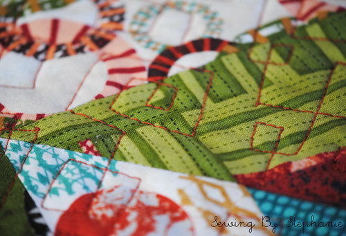 Detail of Quilting on Juggling Summer Tablerunner