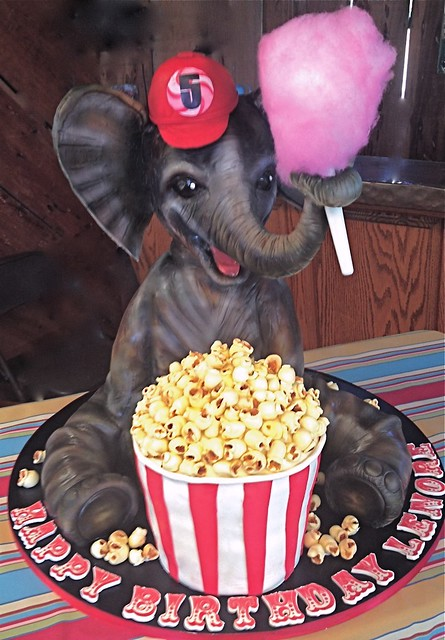 Elephant goes to the circus cake