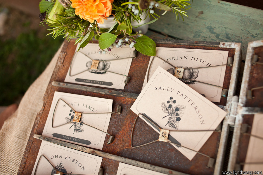 farmers market wedding table cards