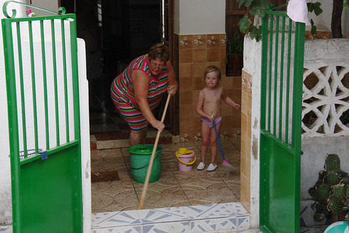 Mopping with Abuela