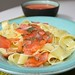 pasta with home marinated salmon