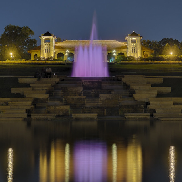 Forest Park, in Saint Louis, Missouri, USA - Government Hill at night with fountain and Worlds Fair Pavilion