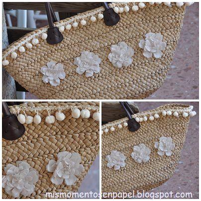 bolso de paja hecho a mano con flores de tela