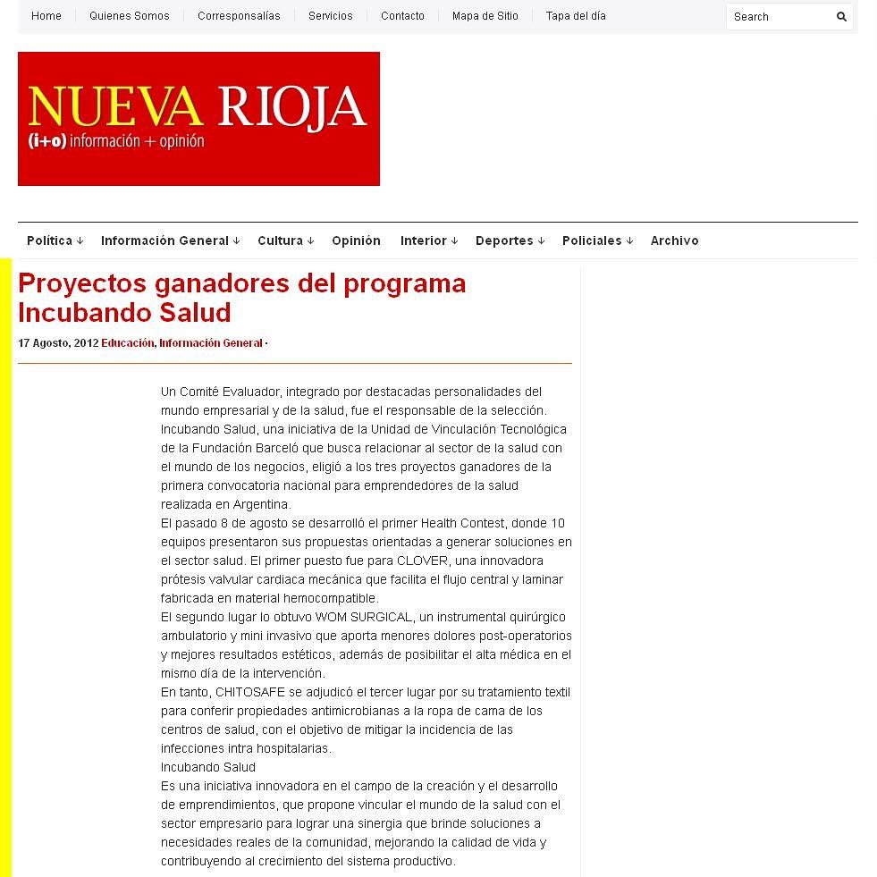 Nueva Rioja - Proyectos ganadores del programa Incubando Salud - 17.08.12