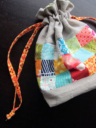 Linen + Squares drawstring pouch