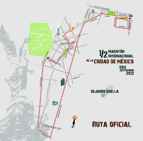 Ruta del Medio Maraton de la Ciudad de Mexico 2012 (MICM)