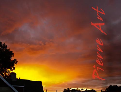 sunset sky orange yellow clouds jaune soleil pierre coucher ciel nuages goldenhour heuredorée artcanon40d