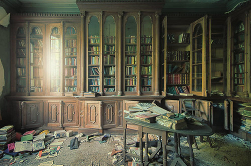 Library in abandoned house