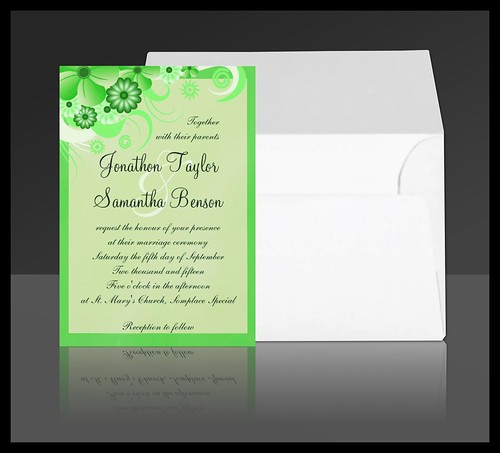 Green Hibiscus Floral Wedding Invitation Suite