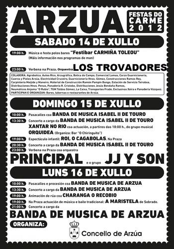 Arzúa 2012 - Festas do Carme - cartel