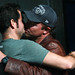 Adam Baldwin plants one on Zachary Levi at NerdHQ for charity