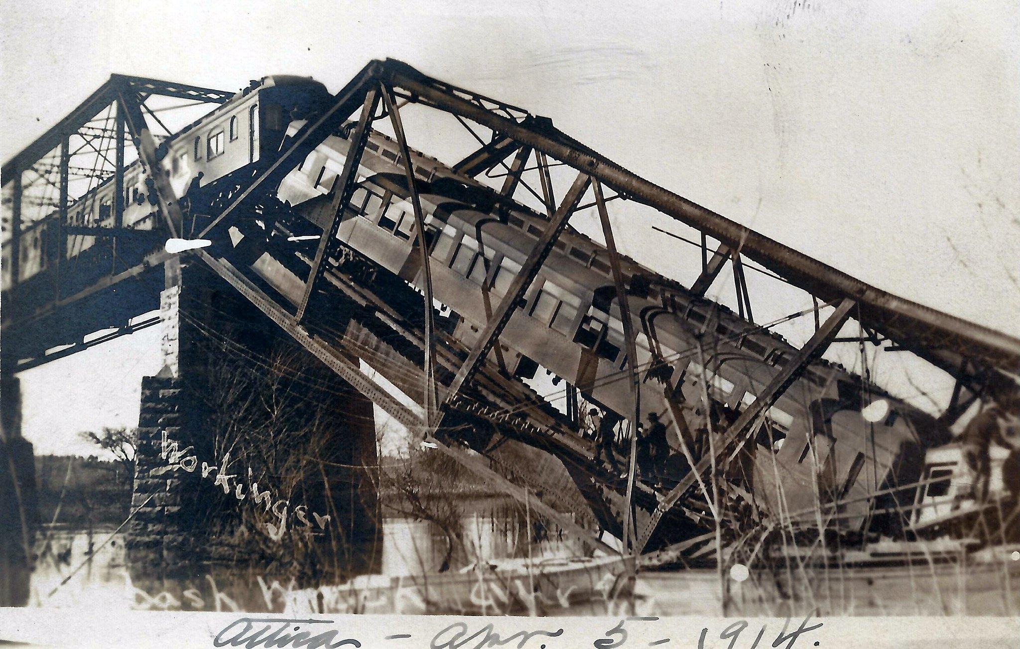 Attica Indiana Train Wreck Wabash Railroad Bridge