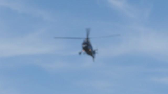 MVI_7701 N58AH Sikorsky helicopter lands at Dos Pueblos parking lot