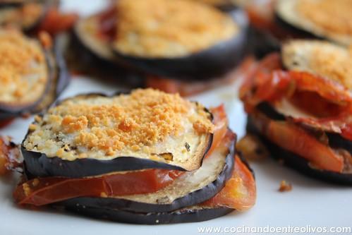 Milhojas de berenjena, tomate y queso Prodieta (1)