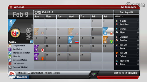 Game Calendar - FIFA 13 Career Mode