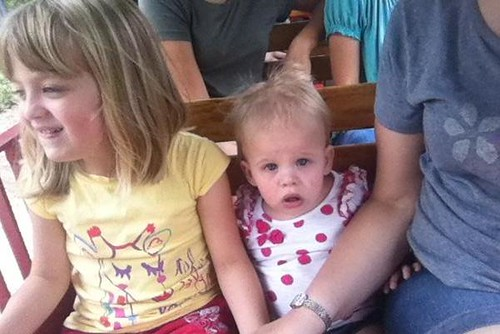 "This sums up their reactions to the train ride pretty accurately. Catie: ""COOL!!"" Lucy: ""...the hell?"""