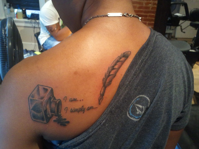 Inkwell and Quill Tattoo I did the other evening.   # ...Quill And Inkwell Tattoo