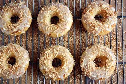 peach doughnuts with coconut.