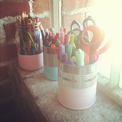 dip-dye cans & jars to hold our supplies. #DIY