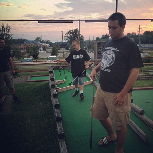 Putt putt action. My score is 36, which I'm told is not good.