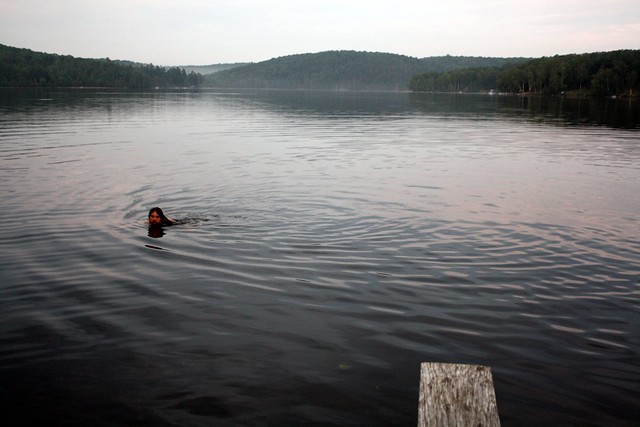 A dip in the lake at the cottage.