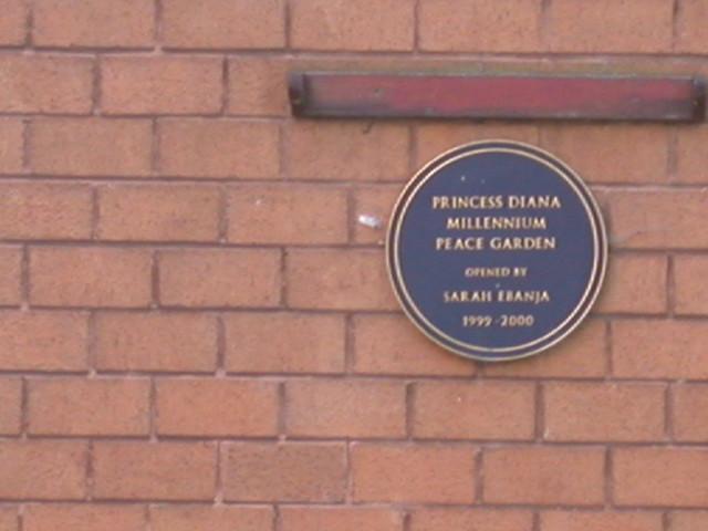 Diana blue plaque - Princess Diana Millennium Peace Garden opened by Sarah Ebanja 1999-2000